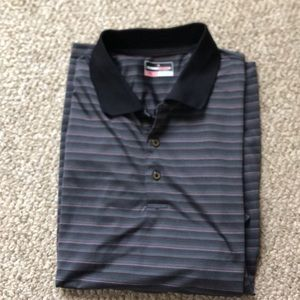 Maroon and Black striped Golf Shirt